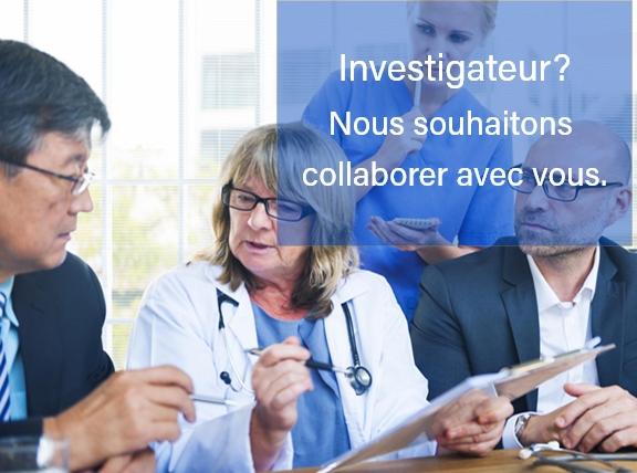 Investigateurs de site de recherche avec client pharmaceutique qui gèrent une étude clinique